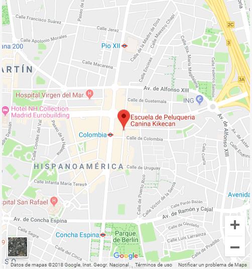 Localización Escuela Peluquería Canina Kikeca - Calle Chile 15, Madrid.